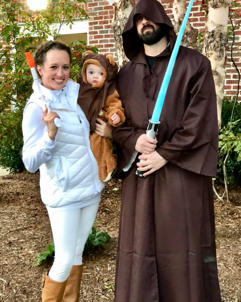 All dressed up for Halloween! Melissa Boone, pictured with her husband Adam and son Lincoln.